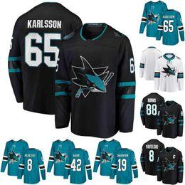 2019 New Ice Hockey San Jose Sharks Jersey 8 Joe Pavelski 19 Joe Thornton 39 Logan Couture 88 Brent Burns Green Black All Stitched For Men