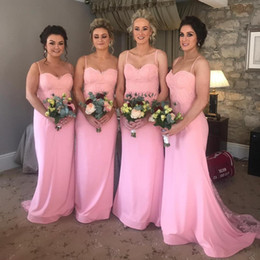 Cheap Pink Long Bridesmaids Dresses 2019 Beaded Lace Applique Maid of Honor Dresses Junior Bridesmaid Summer Beach Dresses
