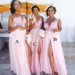 Flowy Chiffon Pink Long Bridesmaid Dresses Sheer Neck Cap Sleeves Appliqued Illusion Bodice Sexy Split Summer Maid Of Honor Gowns BM0146
