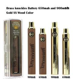 Brass Knuckles Battery 650mAh 900mAh Gold Wood SS Vape Pen Preheat VV Variable Voltage Battery For 510 Kingpen Thick Oil Cartridge Tank