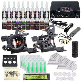 Complete Tattoo Kits 2 Tattoo Guns Machines 20 Color Inks Sets Disposable Needles Power Supply HW-37
