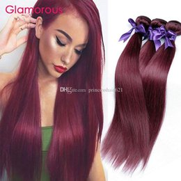 Glamorous Brazilian Hair Bundles 3Pcs Lot Burgundy Human Hair Extensions Double Weft Peruvian Indian Malaysian Body Wave Straight Hair Weave