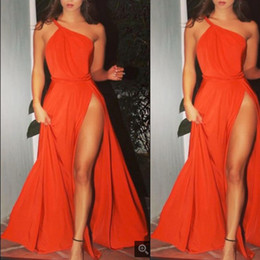 Fashion Orange Prom Dresses Evening Wear One Shoulder Pleats High Leg Split Draped Chiffon Formal Celebrity Runway Gowns Cheap