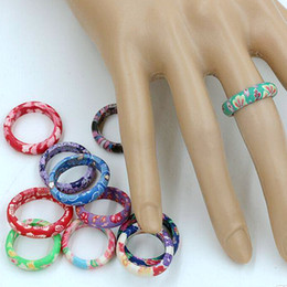 Ring, 100pcs Mix Color Thin Polymer Clay Rings Fimo Brand Rings mixed sizes Female Fashion Jewelry