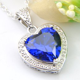 wholesale Brand New 10Pcs LUCKYSHINE Blue Topaz Gems 925 Silver Women Jewelry Cubic Zirconia Heart Pendants Necklaces + Chain