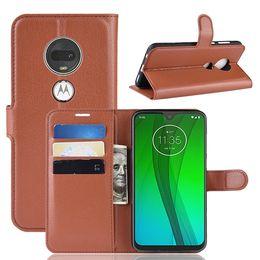 Luxury Litchi Flip Wallet Leather Case For Samsung Galaxy M10 M20 Motorola Moto G7 Plus Stand TPU ID Card Money Leechee Book Skin Cover 1pcs