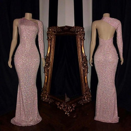 Pink Long Sleeve Prom Dresses 2019 Formal Mermaid One Shoulder Backless Women Occasion Celebrity Evening Party Gowns