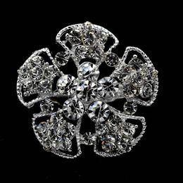 1.4 Inch Beautiful Small Flower Crystal Brooch Small Wedding Jewelry Corsage Pins Silver Tone Custom Jewellery