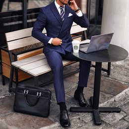 (Blazer+Pants) Rope Stripe Mens Formal Tuxedos Groomsmen Wedding Suits Business Men Work Suits Best Man Suit Mens Wedding Suits Bridegroom