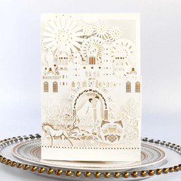 Luxurious palace bow White Elegant laser cut wedding invitations cards hollow personalized Engagement invitation card with envelope