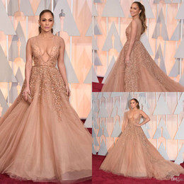 Oscars Red Carpet Beaded Evening Dresses Jennifer Lopez In Elie Saab Celebrity Dress Pearls Nude Tulle Appliqued Backless Prom Gown