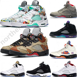 2019 New Arrival Michigan 5 5s Basketball Shoes Mens Sup Desert Black Grape White Cement P51 Camo oreo Designer Shoes US7-13