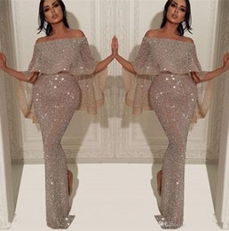 Sparkly Full Sequins Mermaid Long Event Evening Dress 2020 Arabic Bateau Neck Off The Shoulder Slit Pageant Formal Party Prom Gowns BC1019