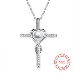 Elegant Jewelry Cross Simple Design Chain Korea Necklace 925 Sterling Silver Fresh Water Pearl Pendant Necklace For Women