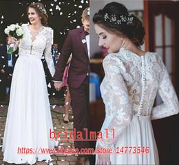 Bohemian 2020 Sheer V Neck Long Sleeves Lace Beach Wedding Dresses A Line Bridal Dresses Boho Country Wedding Gowns Custom Vestidos De Novia