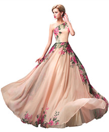 Vintage Real Long Evening Dresses One Shoulder A Line Flower Printed Chiffon Champagne Custom Made Formal Prom Dresses Evening Gowns