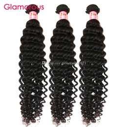 Glamorous Raw Indian Hair Deep Wave Unprocessed Human Hair Weave 3Pcs Natural Color Peruvian Malaysian Brazilian Weave 100g Virgin Hair Weft