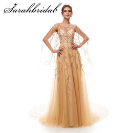 Sweety Romantic Evening Dress New Arrival Sleeveless A-line Court Train backless Zipper Beaded Sequined Tulle Prom Gown