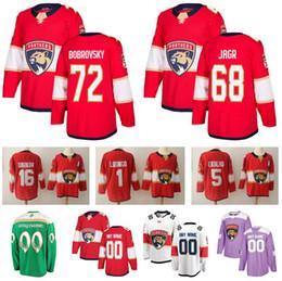 Florida Panthers 72 Sergei Bobrovsky Jerseys 1 Roberto Luongo 5 Aaron Ekblad 16 Aleksander Barkov 68 Jaromir Jagr Hockey Red White Mens