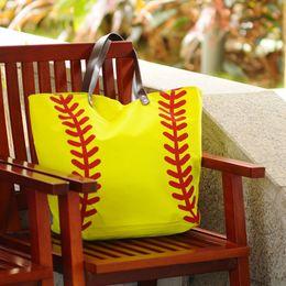 Wholesale Blanks Cotton Canvas Softball sports Tote Bags Baseball Bag Football Bags Soccer ball Bag with Hasps Closure Sports Bag DOM103281