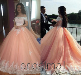 Sweet 16 Peach Tulle Quinceanera Dresses 2020 Off Shoulder Appliques Puffy Corset Back Ball Gown Princess 15 Years Girls Prom Party Gowns