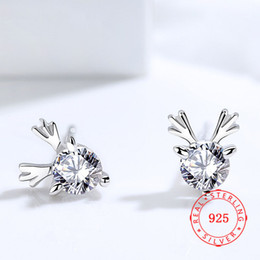 925 sterling silver cubic zircon stud earring Christmas deer horn jewelry for lady white rhodium plated jewelry wholesale