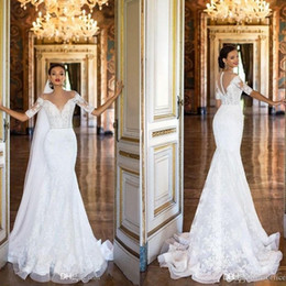 Vintage Mermaid Wedding Dresses 2019 Full Lace Short Capped Sleeve Sheer Neck Trumpet Bridal Gowns With Beaded Sash
