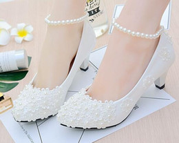 Handmade Ivory Pearl Lace Wedding Dance Party Shoes Flat 4.5cm 8cm Heel Low Heel Bridal Custom Made Shoes Bridesmaid