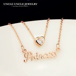 Rose Gold Color Zirconia Heart-shaped Design Princess Letter Two-pieces Lady Pendant Necklace Wholesale