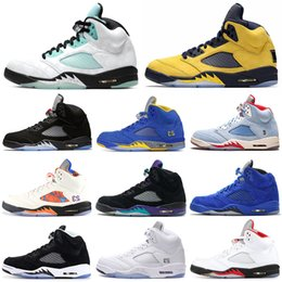 Island Green 5s men basketball shoes 5 Grape TROPHY ROOM Laney Michigan PSG Camo Red Blue Suede Wings mens trainers Sports Sneakers 7-13