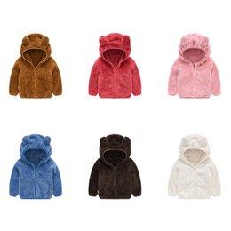 Retail winter kids fleece jacket baby warm rabbit ear hooded jacket fashion cute luxury fur coats sport coat ourtwear children clothing
