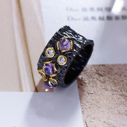 Fashion Purple Stone Rings Black Trendy Jewelry Unique Design Black Flower Accessories Ring