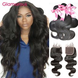 Glamorous Lace Closure with 3 Bundles Peruvian Indian Malaysian Brazilian Body Wave Virgin Human Hair with Closure Free Part 4x4 Hair Piece