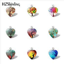 2019 New Cartoon Tree Heart Pendant Life Tree Pendants Glass Cabochon Jewelry Car Ladies Wallet Charms