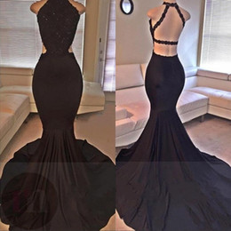 Sexy Black Prom Dresses 2019 Lace Sequins Beaded Mermaid Backless Side Slit Long Evening Dress Formal Party Gowns