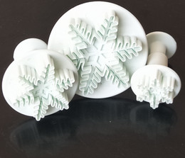 3P New Snowflake Snow Cake Fondant Pastry Cutter Mold Tools Decorating Craft Fondant Plunger cake tool cake mould