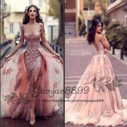 2019 Sexy Deep V-neck Arabic Mermaid Evening Dresses With Overskirts Lace Appliques Side Split Backless Prom Dress Tulle Red Carpet Gowns