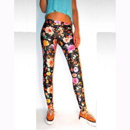 Ankle-Length Print Leggings New Fashion Famous Good Quality Women Mid Waist Sexy Black flowers Printing Leggings