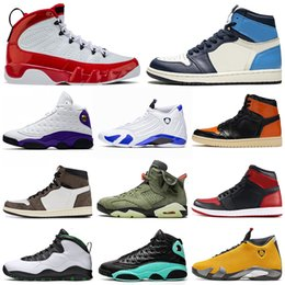 men basketball shoes 1s Obsidian SHATTERED BACKBOARD 9s Gym Red 13s Island Green 14s Hyper Royal mens trainers Sports Sneakers 7-13