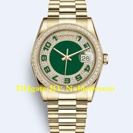 10 Style Luxury Mens 36mm 118348 50th Anniversary Diamond Bezel 18kt Yellow Gold 118238 Day Date President Asia 2813 Automatic Men's Watches