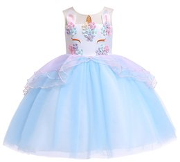 1pcs 2019 Girls Unicorn Costume Tulle Princess Tutu Dress 5 colors Sleeveless Birthday Party Fancy Wedding Dresses Easter Kids boutique