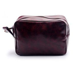 PU Cosmetic Bag Wholesale Blanks Handmade Men's Shaving Bag Men's leather Travel Case Dopp Kit Gift for Him DOM106137