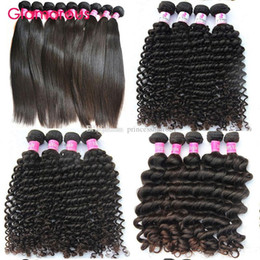 Glamorous Brazilian Hair Wefts Natural Color 6 Bundles Natural Wave Straight Deep Wave Curly Hair Extensions Peruvian Malaysian Indian Hair