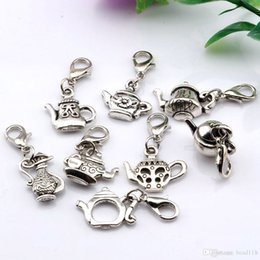 Hot Sales ! 160pcs Antique Silver Alloy Mixed Teapot Charms With lobster clasp Fit Charm Bracelet 8- style DIY Jewelry