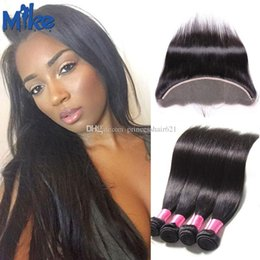 MikeHAIR Straight Human Hair with Lace Frontal 13x4 Ear to Ear Hair Closure Brazilian Peruvian Indian Malaysian Hair Bundles Deal 5Pcs lot