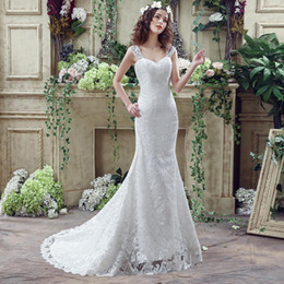 Mermaid Lace Wedding Dresses Cheap 2019 New Cap Sleeves Draped Lace Up Back Real Photo Bohemian Bridal Gowns In Stock