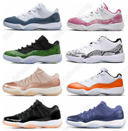 11 Low Navy Blue Pink Snakeskin White Red Basketball Shoes Bred Concord Georgetown Space Jam GG Basketball Sneakers Women Men 11s Trainer XI