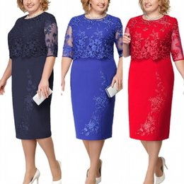 Dark Navy Lace Plus Size Mother Of The Bride Dresses Scoop Neck Half Sleeve Patchwork Wedding Guest Party Gown