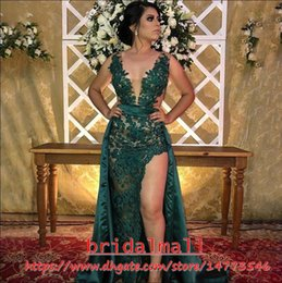 Hunter Green Satin Sheath African Evening Dresses V Neck Appliqued Lace Formal Party Gowns Sexy Side Split Long Prom Dress Robes de soiree