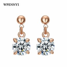 Rose Gold Color Sparkling 8mm 2ct Clear Zirconia Prongs Classic Hearts & Arrows Woman Drop Earrings Wholesale Accessory